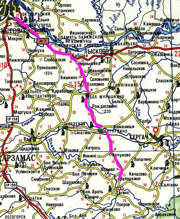 Схема проезда Нижний Новгород - усадьба Пашковых.